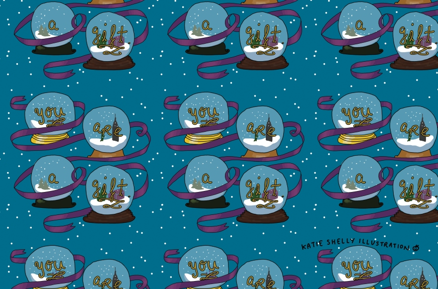 "A repeating pattern of snowglobes with the phrase ""you are a gift"""