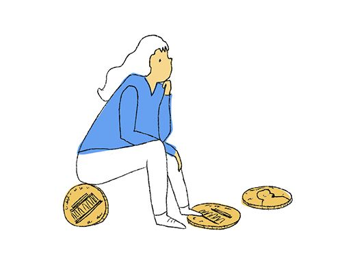 A cartoon drawing of a woman sitting on a coin, lost in thought