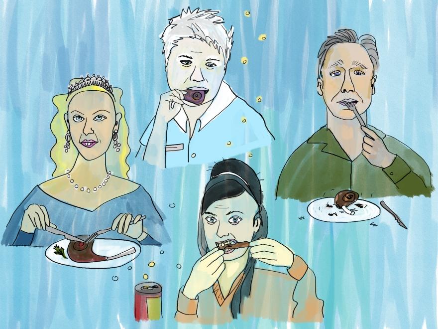 Four cartoon people eating various foods