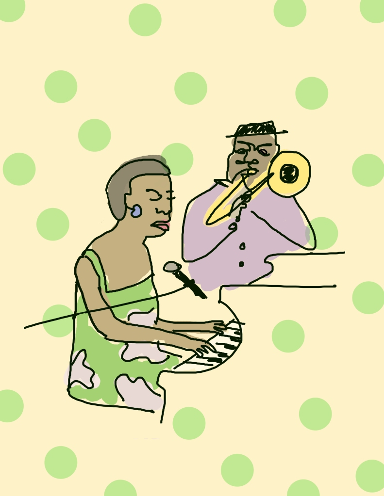 A childlike drawing of a woman seated at the piano, singing, and a trumpet player behind her