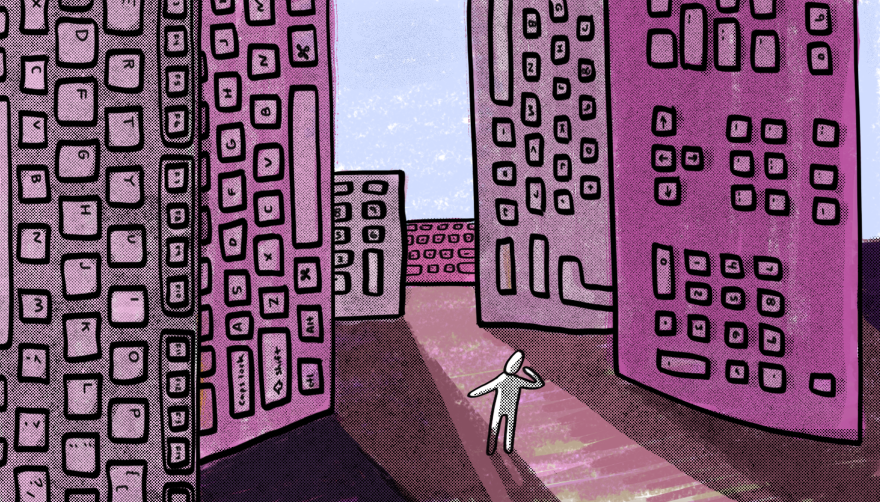 a drawing of a small white figure with large keyboards, as if buildings, looming over them