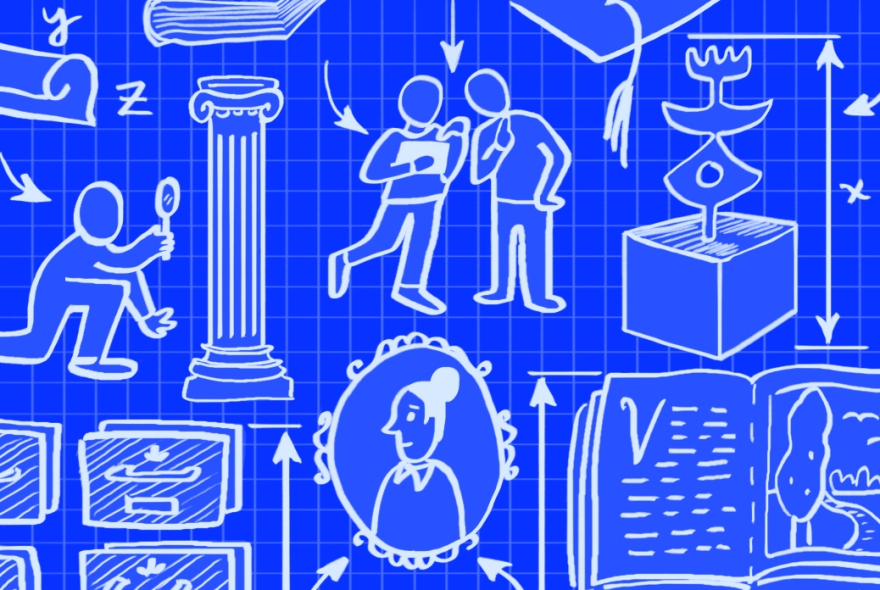 blueprint-like illustration of museum artifacts and visitors