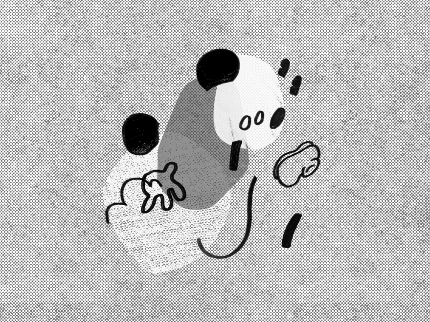 Familiar elements of the original mickey mouse character rendered in an abstract style with his body parts floating in space