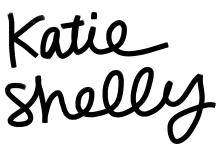 "Black cursive handlettering that reads ""katie shelly illustration"""
