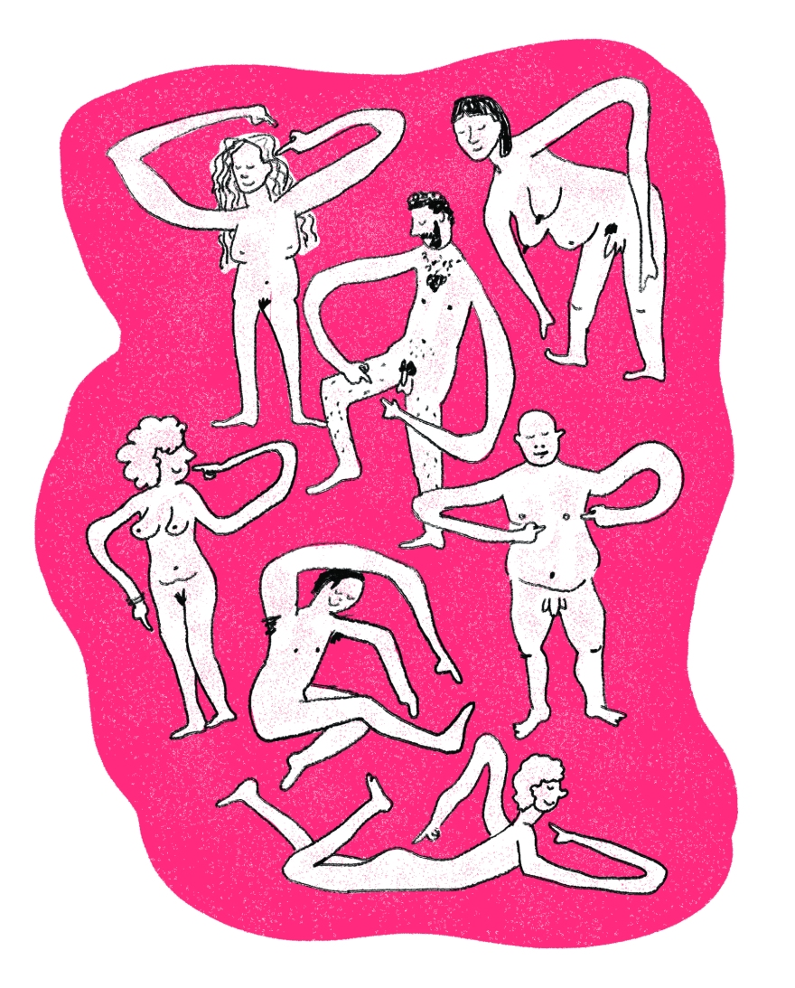 Several cartoon people completely nude, with long arms that point to different zones of their bodies