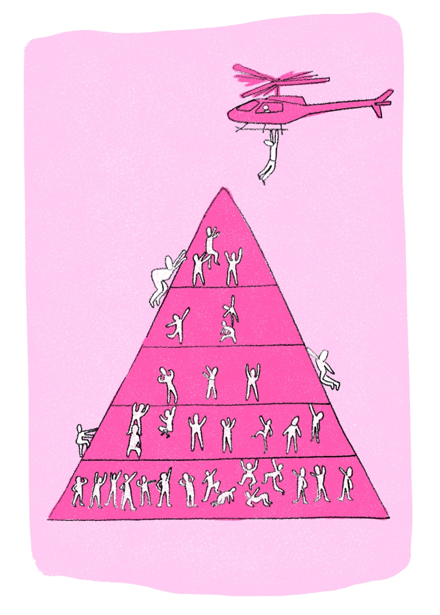 a pyramid with tiny people inside, all trying to scramble to the top. a helicopter hovers above, and even the people up high on the pyramid want to climb aboard and get higher.