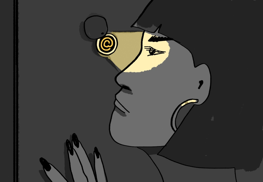 "Illustration of a woman looking through a peephole. The peephole contains the ""@"" symbol."