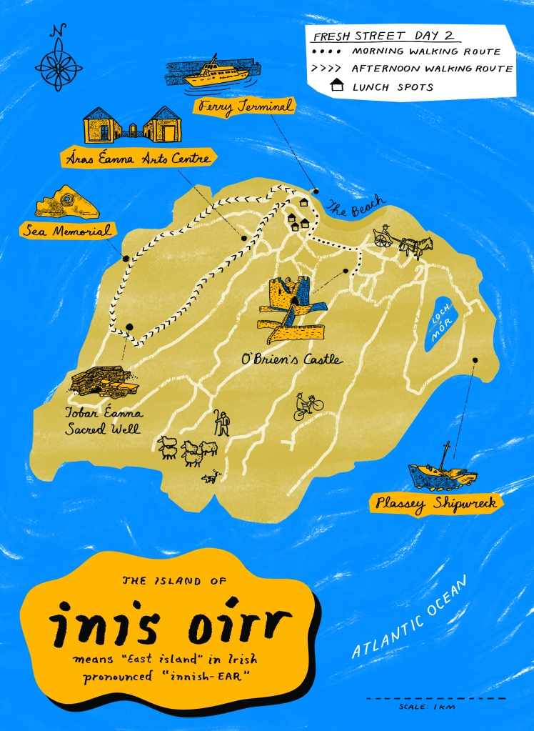 Illustrated map of Inis Oirr island