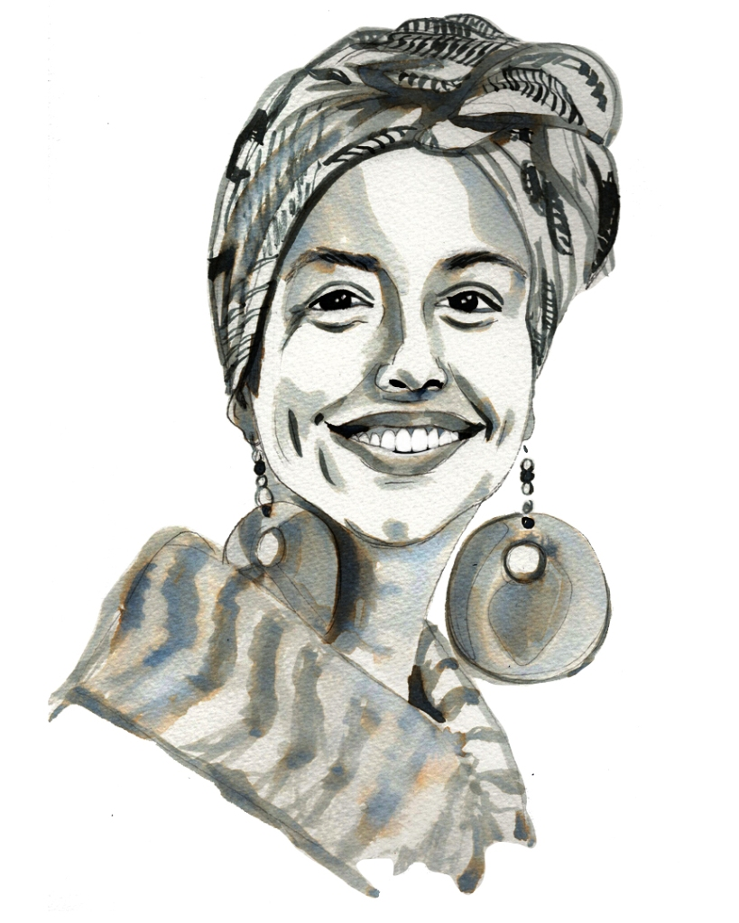 ink portrait of a smiling young woman with large earrings and a turban