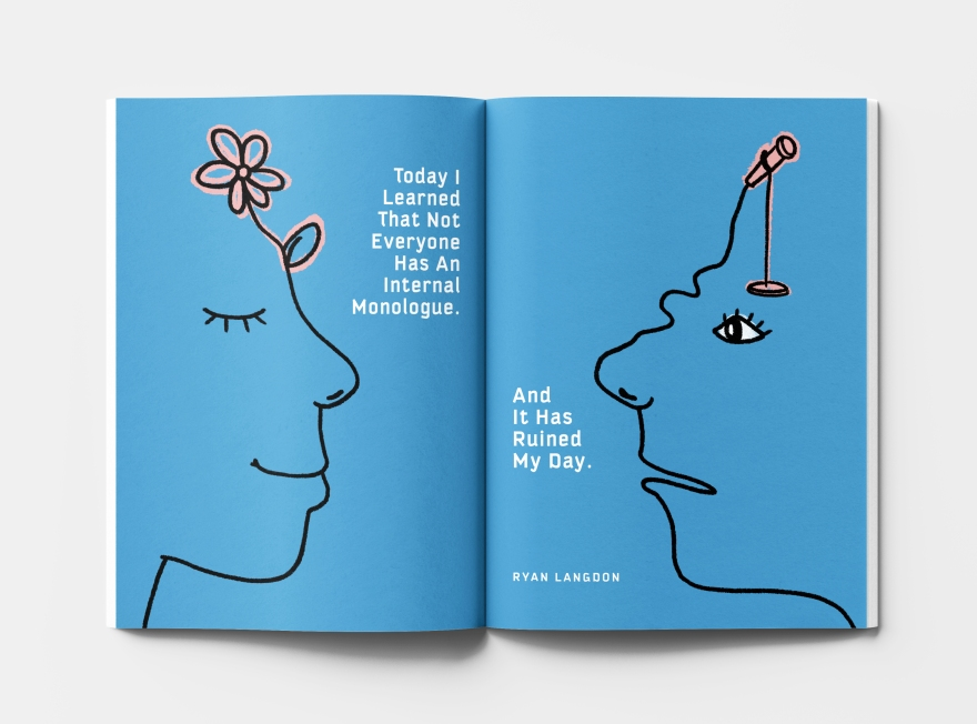 A magazine opened to an all-blue illustration of two faces, one happy with a flower on its head and one upset, with a microphone on its head.