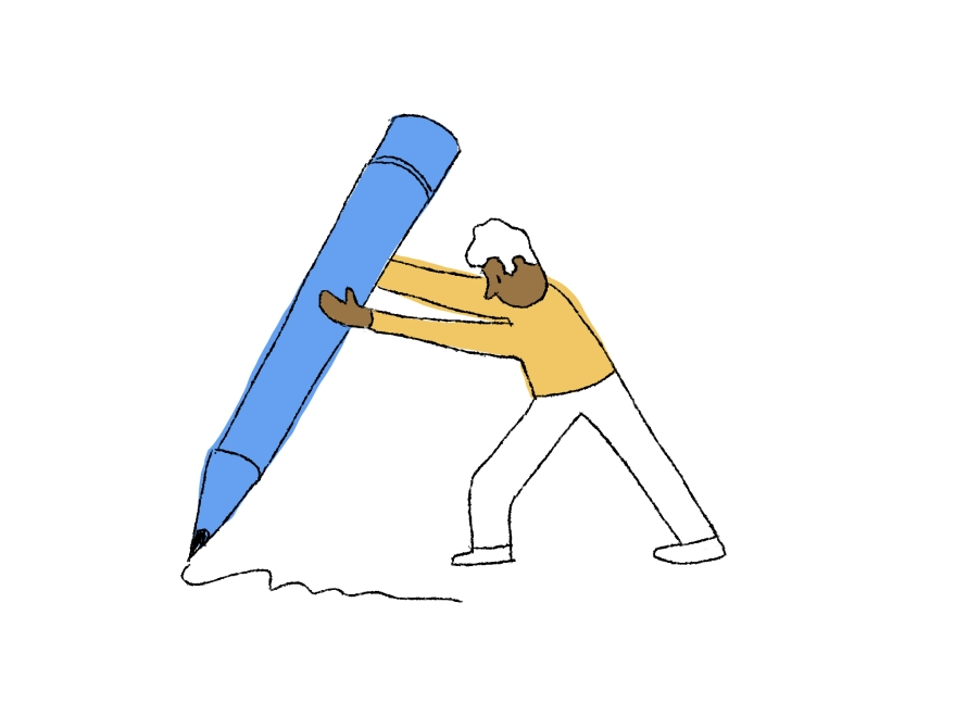 A cartoon of a man drawing with a gigantic pencil
