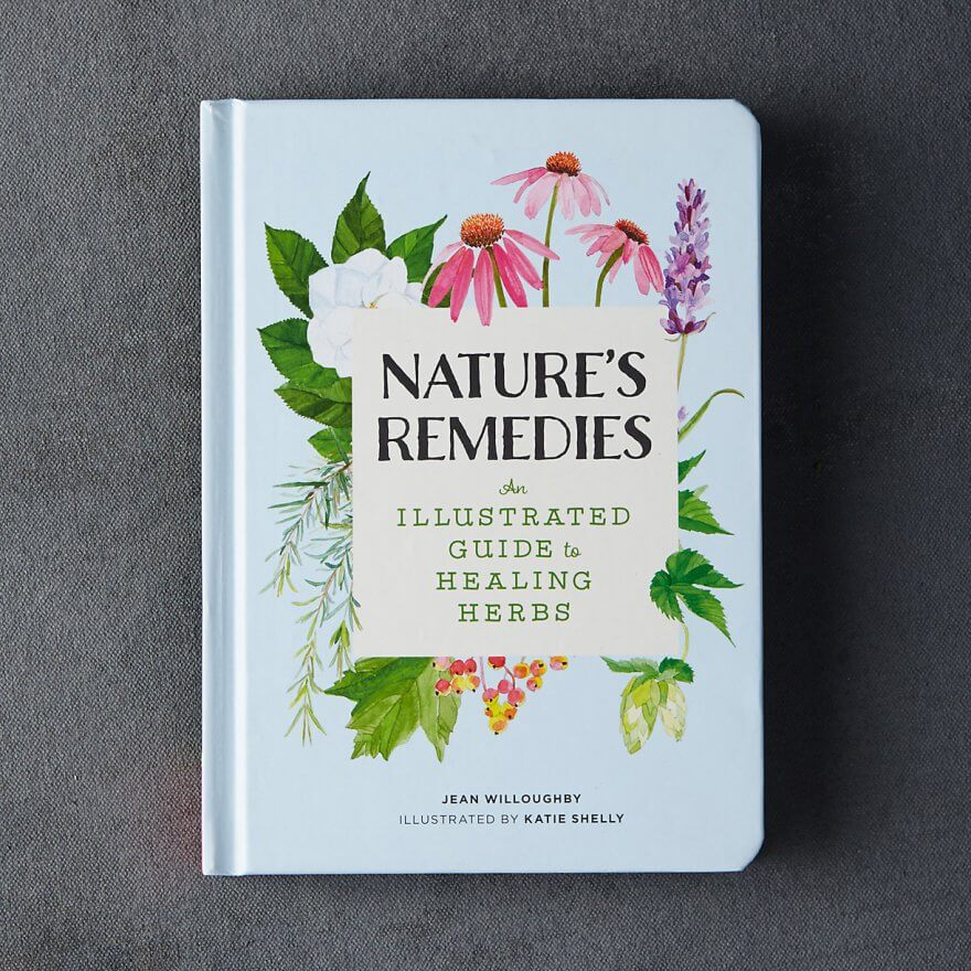 A book, closed, with floral designs painted on the cover and the title NATURE'S REMEDIES