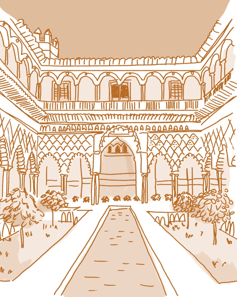 A cartoonish drawing in shades of orange of an arab-style interior patio, with arches and detailed tilework, and rectangular reflecting pool