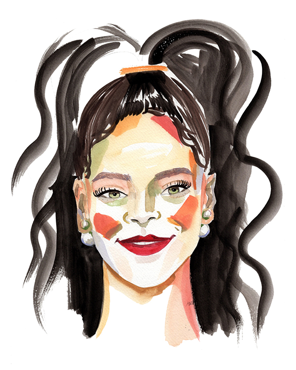 Brushy portrait of Rihanna with flowing brushtrokes for hair